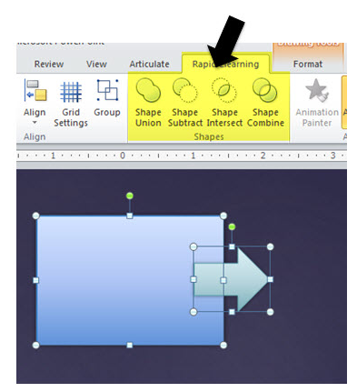 Articulate Rapid E-Learning Blog - top PowerPoint tips combine shapes